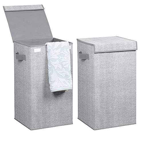 mDesign Juego de 2 cestos para ropa sucia en polipropileno transpirable – Cesto plegable para colada de diseño – Con...