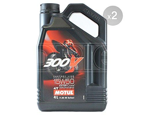 Motul 300V 4T Factory Line 15W-50 Ester - Aceite sintético para motor de motocicleta, 2 x 4 litros