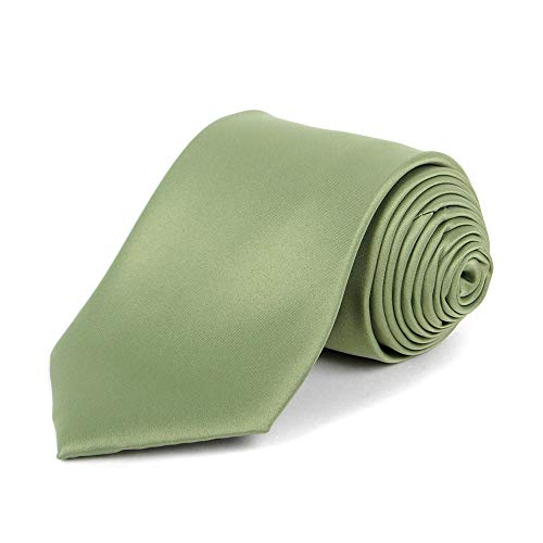 UMO LORENZO Classic Necktie Sage Solid Color Polyester Material and Wide Fit Satin Finish for Men… (Sage)