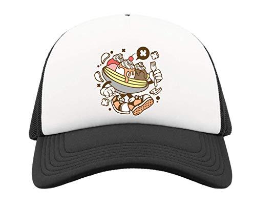 Cartoon Styled Banana Split Urban Dessert Trucker Baseball Cap One Size