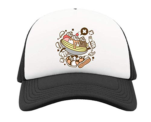 Cartoon Styled Banana Split Urban Dessert Trucker Baseball Cap One Size