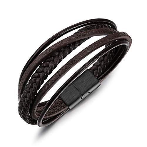 Mehrschichtig Geflochten Echtlederarmband für Männer in Braun Armbänder für Herren Armreif Ketten Edelstahl Magnetverschluss
