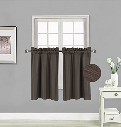 """GorgeousHomeLinen (RS5) 1 Panel of Kitchen Rod Pocket Thermal Insulated Foam Backing Room Darkening Blackout Window Tier Drape Short Curtain 30"""" X 36"""" (Brown)"""