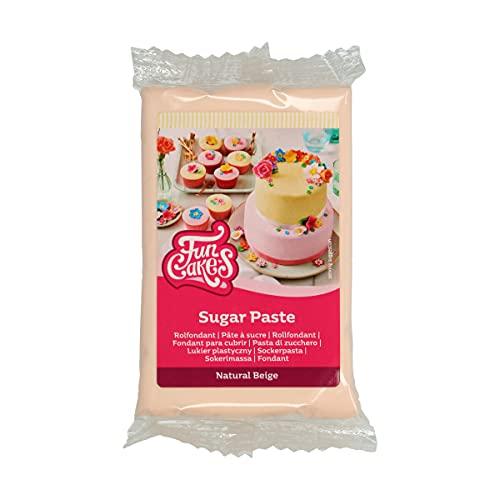 FunCakes Pasta di Zucchero Natural Beige: facile da usare, liscia, flessibile, morbida e pieghevole, perfetta per decorare torte, halal, kosher e senza glutine. 250 gr