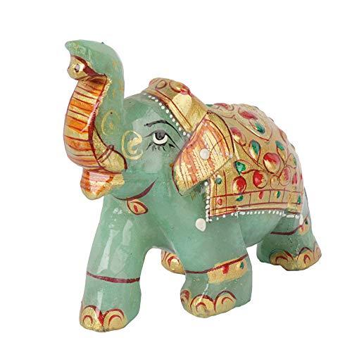 GEMHUB Bonita figura de elefante de jade verde de 653.00 quilates para decoración del hogar