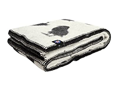 ICEWEAR Puffin Wool Blanket | 100% Pure Wool | Grey with Puffin Pattern
