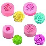 4 Piezas Moldes de Jabón Silicona de Flor Rosa 3D Molde de Resina para Velas Rosas Molde de Silicona para Fondant o Chocolate de Flor Rosa para Decoración Pasteles Chocolate Mano Fabricación de Dulces