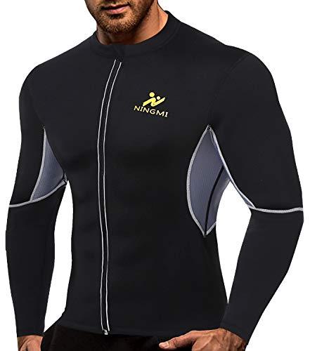NINGMI Men Long Sleeve Sweat Sauna Shirt Neoprene WeightLoss Workout Body Shaper Jacket with Zipper Waist Trainer Black