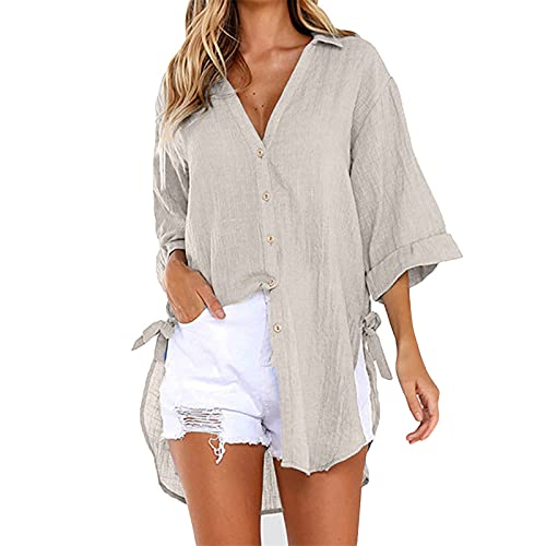 Women's Cold Shoulder Loose Shirt Tops 3/4 Sleeve Blouse Womens Work Clothes Womens Blue Shirts and Blouses Womens Flowy Tops(#1-Dark Khaki,XXXXL)