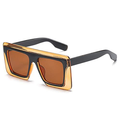 DLSM Gafas de Sol de Mujer Cuadrada Gafas de Sol de Gran tamaño Mujeres Gafas Retro Adecuado para Fiesta de Playa Conducción Gafas de Sol Gafas de Golf-Té de té