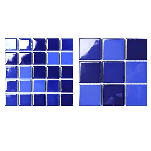 YOUCAO dunkelblau Schwimmbad Mosaik kleine Keramikfliese Fisch Pool Keramikfliese glasiert hell WC Wand Bodenfliese Bodenfliese rutschfest verschleißfest (2 Modelle Muster, dunkelblau)