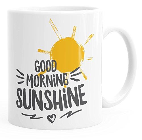 MoonWorks Kaffee-Tasse Good Morning Sunshine einfarbig weiß-schwarz Unisize