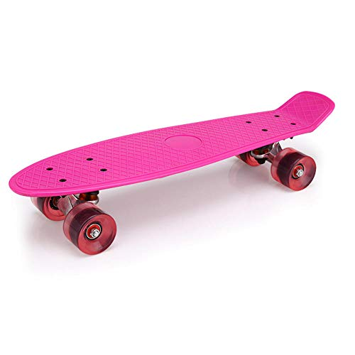WotheCase Mini cruiser skateboard, suitable for girls, boys, children, beginners, retro plastic skateboards, professional adult skateboards-Pink