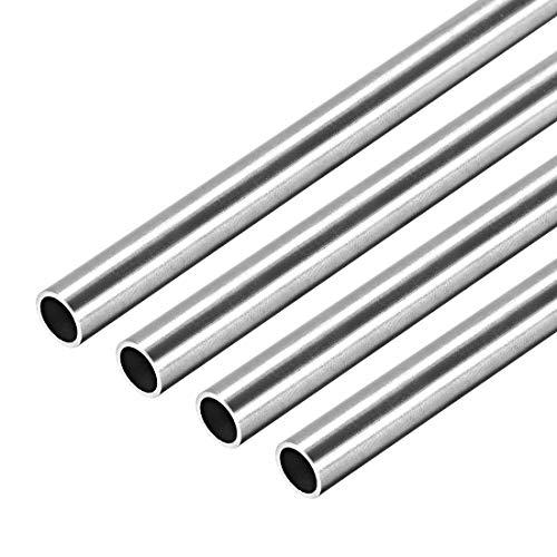 Tube Redondo de Acero Inoxidable,4x Tubos de Acero Inoxidable, 8mm Diámetro Externo, 0,8mm Pared Grosor, 250mm Longitud, Tubo Recto sin Costura