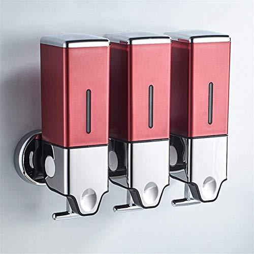 JSMY Dispensador de jabón de baño Bomba de jabón de Pared para Fregadero de Cocina Ducha Champú líquido Dispensadores de loción Botella de Gran Capacidad(Color:Rojo Tamaño:1500ML)