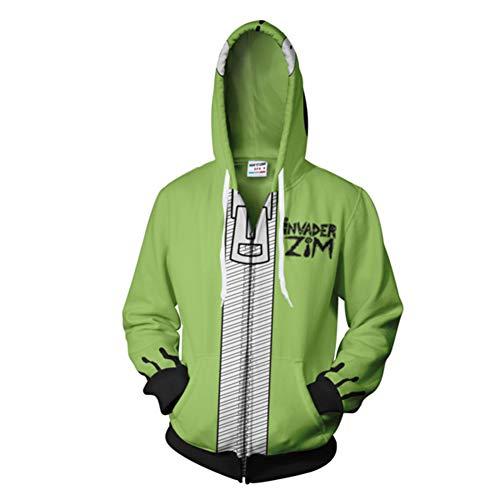 DENCTORAM Unisex Invader Zim Hoodie Halloween Costume Cosplay Mens Casual Hooded Zip Up Pullovers Green