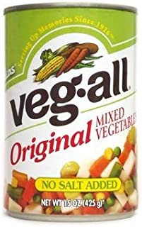 Veg-All Original Mixed Vegetables NO Salt Added 15oz Can (Pack of 6)