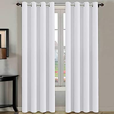 H.VERSAILTEX White Curtains 96 inches Long Window Treatment Panels/Drapes for Living Room, Set of 2, Grommet Top