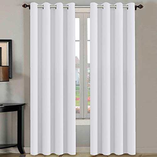 Thermal Insulated White Curtains 108 inches Long for Patio Glass Door, Winow Treatment Extra Long Panels Drapes, Grommet 2 Panels, Pure White