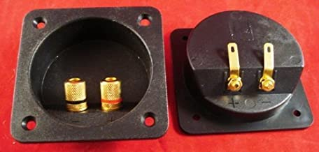 One Recessed Speaker Box Terminal With gold Banana Type Binding Posts Fits 2 5/8-Inch-2 7/8-Inch Circular Hole