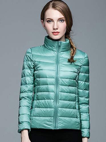 SWAQS dames donsjas winterjas opstaande kraag damesjack ultralicht slim parka lange mouwen bonbons kleur mode M lichtblauw