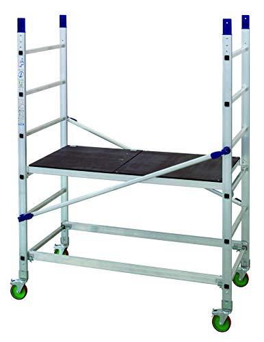 FACAL Alto 205, modulares Arbeitsgerüst aus Aluminium für den Heimwerker, Arbeitshöhe 3,00m, mit 4 bremsbaren Fahrollen, TÜV geprüft
