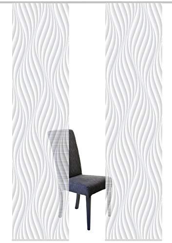 Vision S 55720 | 2er-Set Schiebegardinen Wave | halb-transparenter Stoff in Bambus-Optik | 2X 260x60 cm | Farbe: (grau)