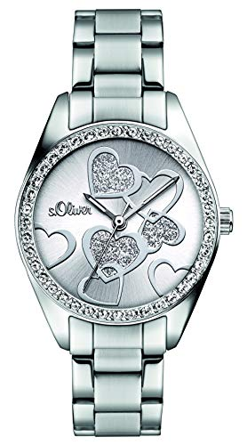 s.Oliver Damen Analog Quarz Armbanduhr mit Edelstahlarmband SO-2857-MQ