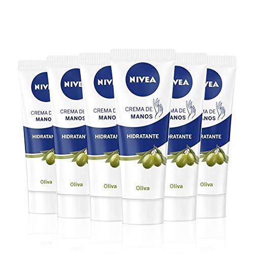 NIVEA Crema de Manos Hidratante Aceite de Oliva en pack de 6 (6 x 100 ml), crema para el cuidado de la piel seca, crema para conseguir una hidratación profunda