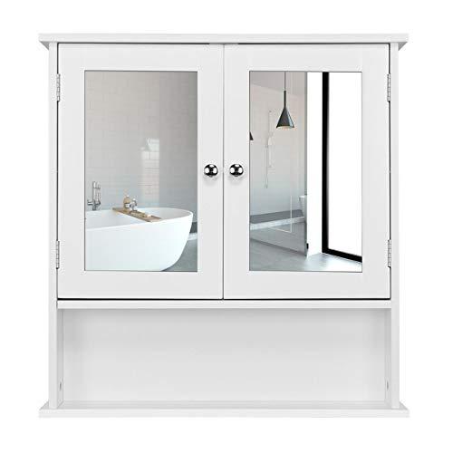 Yaheetech Armario de Baño con Espejo de Pared con 2 Puertas 58 x 56 x 13 cm Gabinete para Colgar con 3 Niveles para Cocina Salón de Almacenaje