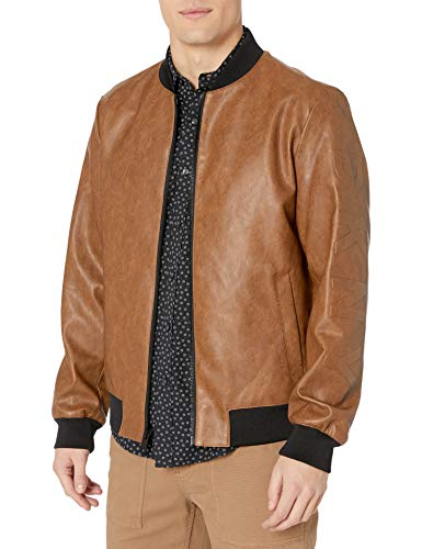 DKNY Men's Leather Bomber Jacket, Brown - Rugged Lamb Faux PU, Large