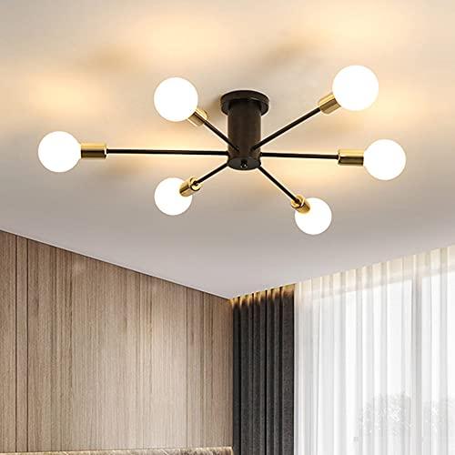 Comely Lampadario Vintage, Lampada da Soffitto Industriale retrò 75cm, 6-Luci E27 Plafoniera Moderno per Camera da Letto, Soggiorno, Cucina, Sala da Pranzo
