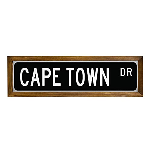 qidushop Street Shield Cape Town Gift Sign Cape Town Souvenir Cape Town Native Cape Town Visitor Wood Sign, Decoration Wooden Framed Sign