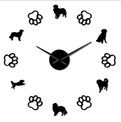 JHLP Frameless Hond 3D DIY Muur Klok Met Leuke Hond Voetafdruk Gift Voor Hond Liefhebber Zelfklevende Mute Acryl Klok 27inch