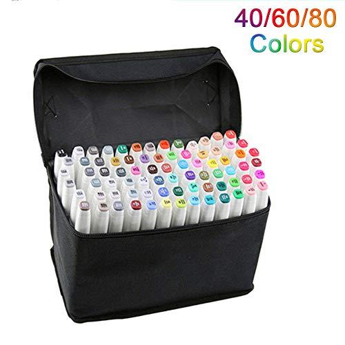 Artista Pluma de marcador gráfica necesaria Pluma de punta fina y punta fina con bolsa negra (Blanco 40 colores)