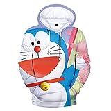 YHKYGM Sudadera con Capucha De Anime Doraemon para Ropa De Calle con Cuello Redondo Harajuku 3D-Sky Blue_4XL