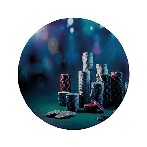 Rutschfreies Gummi-rundes Mauspad Poker-Turnierdekorationen Spieltisch mit Pokerchips Dramatisches Display Vegas Leisure Decorative mehrfarbig 7.9