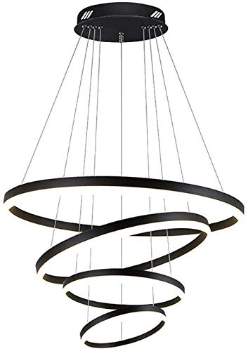 Home Decoration Pendant Light Fixtures Modern 4 Rings LED Chandelier 120w Circular Pendant Lamp Shade 9000-10800lm Circular Acrylic Ceiling Light Adjustable Height for Restaurant Bedroom Living Roo