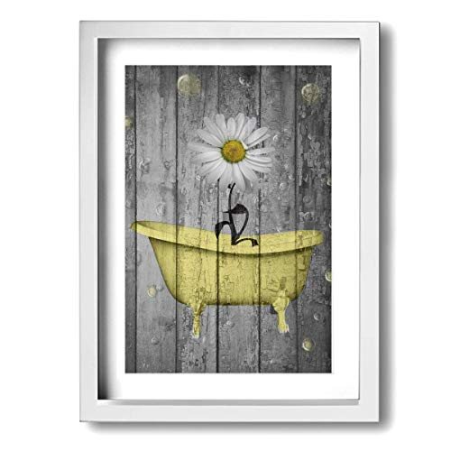 Ale-art Rustic Picture Frame Bathroom Wall Art Daisy Flower Bubbles Yellow Gray Vintage Rustic Bath Wall Art Ready to Hang for Wall Decor 9'' X 13''