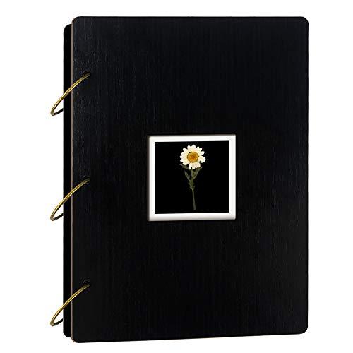 Umi Amazon Brand Álbum de Fotos con Tapa de Madera y Margarita Seca para 300Fotos de 10 x 15cm (Negro)