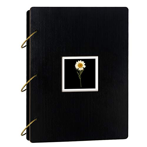 Dried Flower Photo Album 4x6 Holds 300 Photos with Memo, Black Wooden Cover Photo Book for Gift