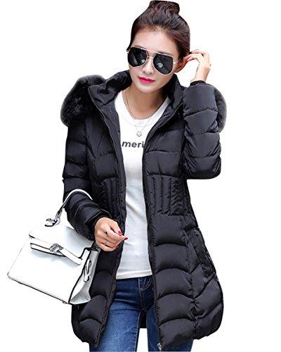 MISSMAO Donna Giacca Trapuntato Cappotti Inverno Spessore Caldo Cappotto Slim Fit con cappucciato di Pelliccia Ecologica Nero 3XL