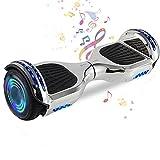 HappyBoard 6.5'' Hoverboard Patinetes de Acrobacias Patinete Eléctrico Bluetooth Monopatín Scooter Autobalanceado, Ruedas de Skate con luz LED, Motor Bluetooth de 700W (S-Gris)