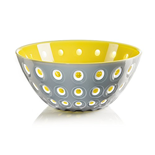 """Guzzini Le Murrine Bowl, 9-3/4"""" x 4-1/4"""", Unique Serving Dish or Centerpiece, 91-Fluid Ounces, Made in Italy, Grey, White, Yellow"""