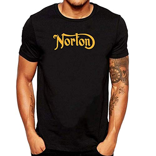SEVENSIQI Norton Gold Logo Hombre Short Sleeve Neck Camiseta/T Shirt Black