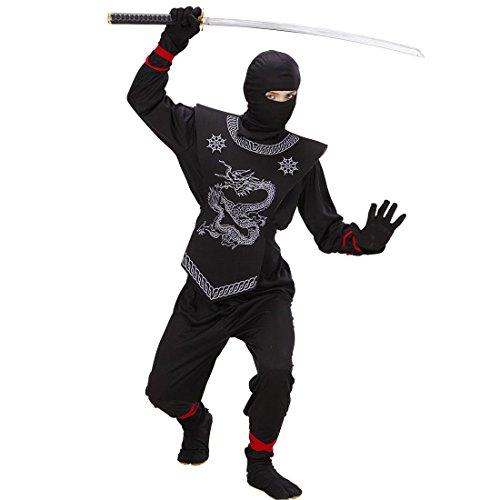 Costume de ninja noir déguisement de samouraï pour enfant 140 cm 9-11 ans Tenue de guerrier asiatique pour enfant soldat japonais combattant Japon tenue complète sport de combat asiatique costume de carnaval déguisement garçons