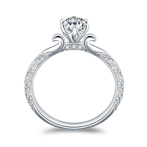 KnSam 18K Oro Blanco Anillo, Anillo de Bodas Clásico Seis-Garra Anillo de Diamantes, Diamante Blanco, Color Oro Blanco, 0.4ct - Talla 12