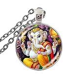 Lord Ganesh Ganesha Collar de elefante hindú Ganesh Hindú Joyería Imagen Impresión Cristal Cabujón Colgante Collares
