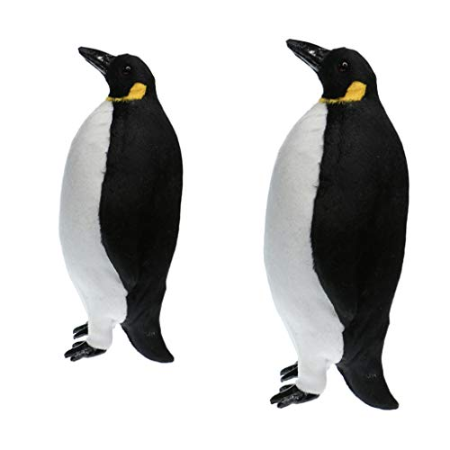 MagiDeal 2 Pcs Artificial Simulation Ornaments Feathered Fake Penguin Decor S+M Size