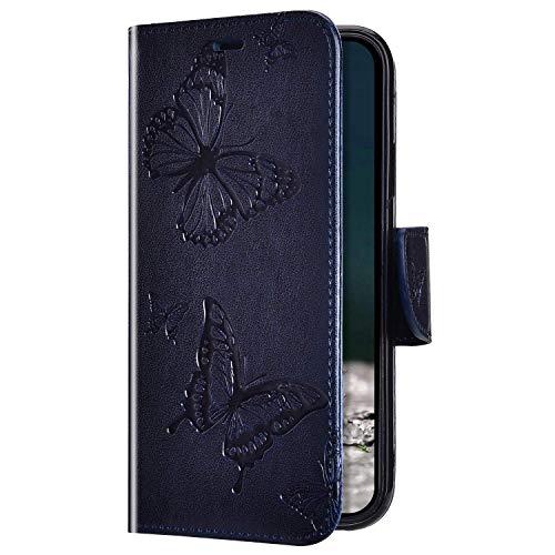 Uposao Kompatibel mit Samsung Galaxy A30 / A20 Hülle Ledertasche Tasche Flip Case Cover Schmetterling Motiv Muster Lederhülle Klapphülle Wallet Cover Magnetisch Handytasche Kartenfächer,Dunkelblau